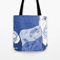 birdman Tote Bags featuring Birdman by Chelsea Kepner
