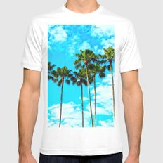 Tropical Palm Trees White Mens Fitted Tee MEDIUM
