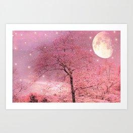 Surreal Fantasy Fairy Tale Pink Nature Trees Stars Full Moon Art Print