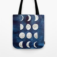 moon phases Tote Bags featuring Moon phases by Bridget Davidson