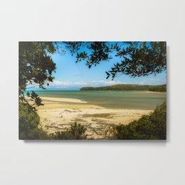 framed Abel Tasman beach Metal Print