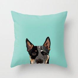 Australian Cattle Dog blue heeler pet portrait art print and dog gifts Throw Pillow
