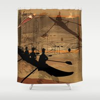 rowing Shower Curtains featuring Rowing by Robin Curtiss