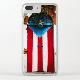 PUERTO RICO FLAG DOOR Clear iPhone Case