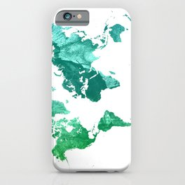 Green watercolor world map iPhone Case
