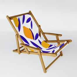 Blue and yellow Lemon Summery Pattern Sling Chair