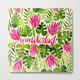 Tropical Wanderlust – Pink & Lime Metal Print