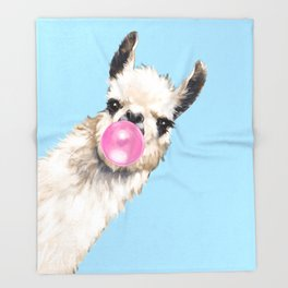 Bubble Gum Sneaky Llama in Blue Throw Blanket
