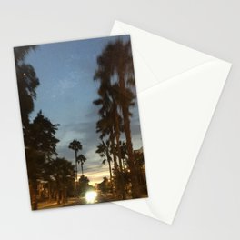 Blurry Palm trees in the street Stationery Cards
