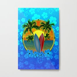 Sunset And Surfboards Metal Print