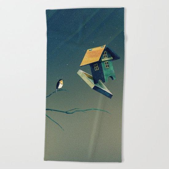 Flying Bird...house Beach Towel