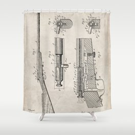 Bolt Action Rifle Patent - Browning Rifle Art - Antique Shower Curtain