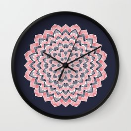 Coral pink and deep blue flower design Wall Clock
