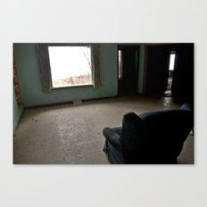 Abandoned Teal Nunnery Chair Canvas Print