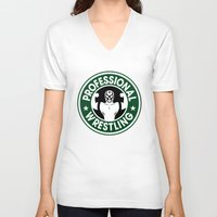 starbucks V-neck T-shirts featuring Pro Wrestling Starbucks by garywithrow
