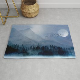 Mountainscape Under The Moonlight Rug
