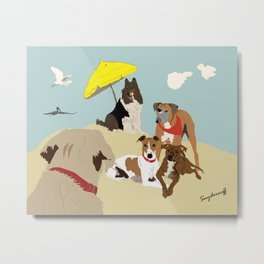 Dogs at the Beach Metal Print