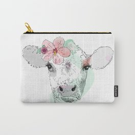 Cow with Hibiscus Carry-All Pouch