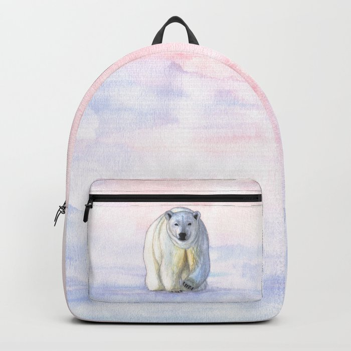 Polar bear in the icy dawn Backpack