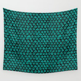 Mermaid Glam // Turquoise Glitter Watercolor Scales on Charcoal Chalkboard Wall Tapestry