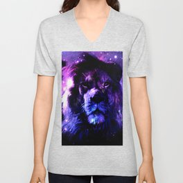 Lion leo purple Unisex V-Neck