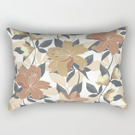 Festive, Floral Prints, Terracotta and Gold, Lillies Rectangular Pillow