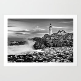 Waves Crashing Near Portland Head Light Maine Monochrome Art Print