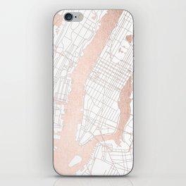New York City White on Rosegold Street Map iPhone Skin