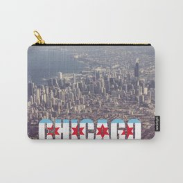 Chicago City Flag Architecture Downtown Color Text Font Type Photography Carry-All Pouch