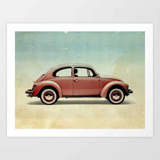 red vintage car Art Print