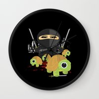 ninja turtles Wall Clocks featuring Ninja Turtles by Adamzworld
