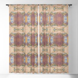Red Peach Blue Orange Acrylic Pattern Sheer Curtain