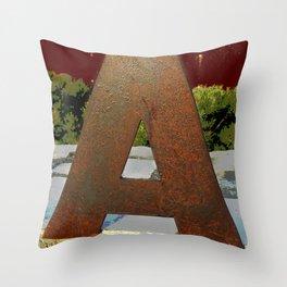 Rust Letter A Throw Pillow