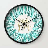 gold Wall Clocks featuring Treat Yo Self – Gold & Turquoise by Cat Coquillette