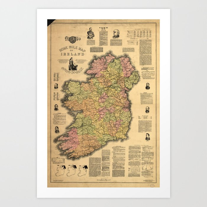 Map Of Ireland Print.Vintage Map Of Ireland 1893 Art Print By Bravuramedia Society6