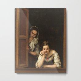 Bartolome Esteban Murillo Two Women At A Window 1675 Metal Print