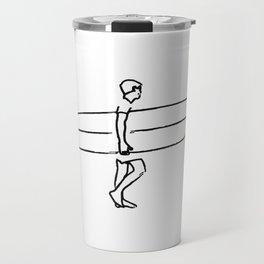 Long Board Surfer Sketch Travel Mug