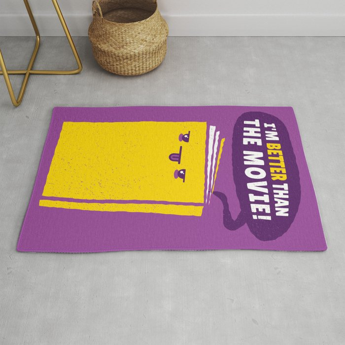 Funny Book Humour I'm Better Than The Movie Quote Cute Design In Purple & Yellow Rug