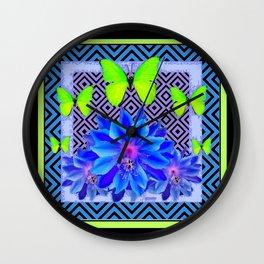 Lime Green Butterflies Blue Tropical Flower Graphic Art Wall Clock