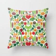 Vegetables tile pattern Throw Pillow
