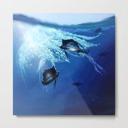 Blue Marlin Hunting Party Metal Print