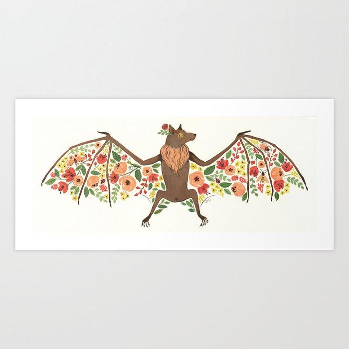 Floral Fruit Bat Art Print