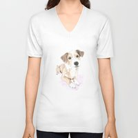 jack russell V-neck T-shirts featuring Jack russell terrier love by Nemimakeit