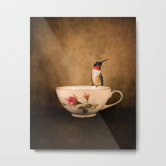 Tea Time With A Hummingbird 2 Metal Print