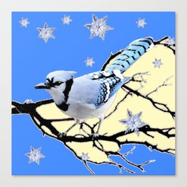 BLUE JAY DESIGN IN YELLOW-BLUE SNOWFLAKES ART Canvas Print