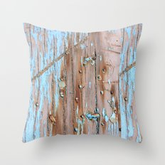 Turquoise Beach Wood II Throw Pillow