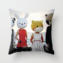 Dapper Animals Sunset Faces Throw Pillow