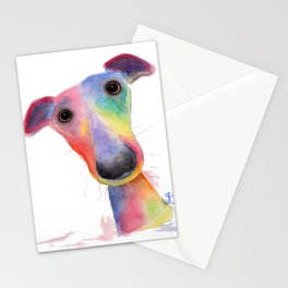 Nosey Dog Whippet / Greyhound ' HANK ' by Shirley MacArthur Stationery Cards