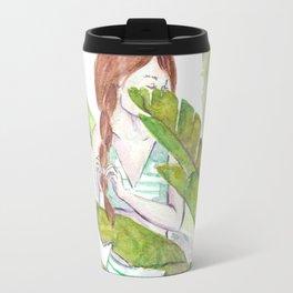 Palm Girl watercolor Travel Mug