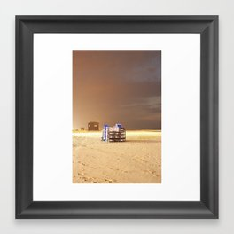 recliners on the beach Framed Art Print